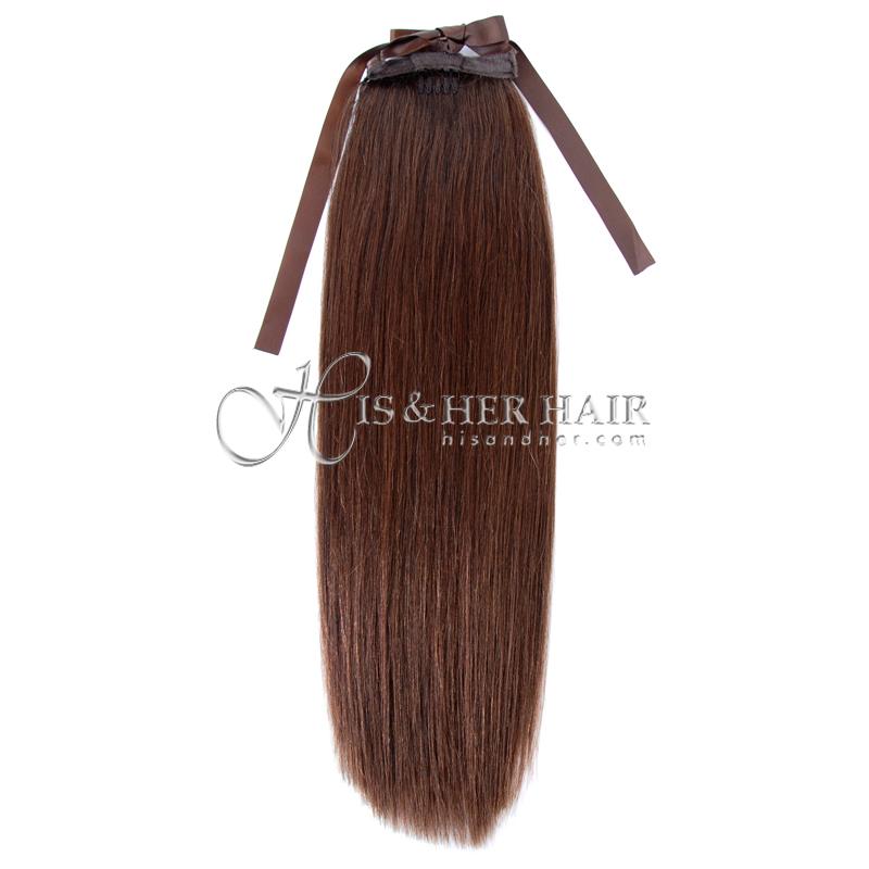 "Ponytail Human Hair-Natural Perm Straight 14"""