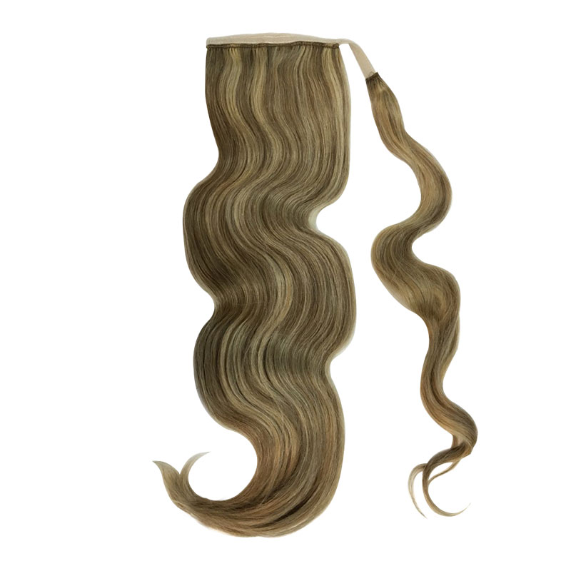 "Human Hair Velcro Ponytail - Bodywave 18"""