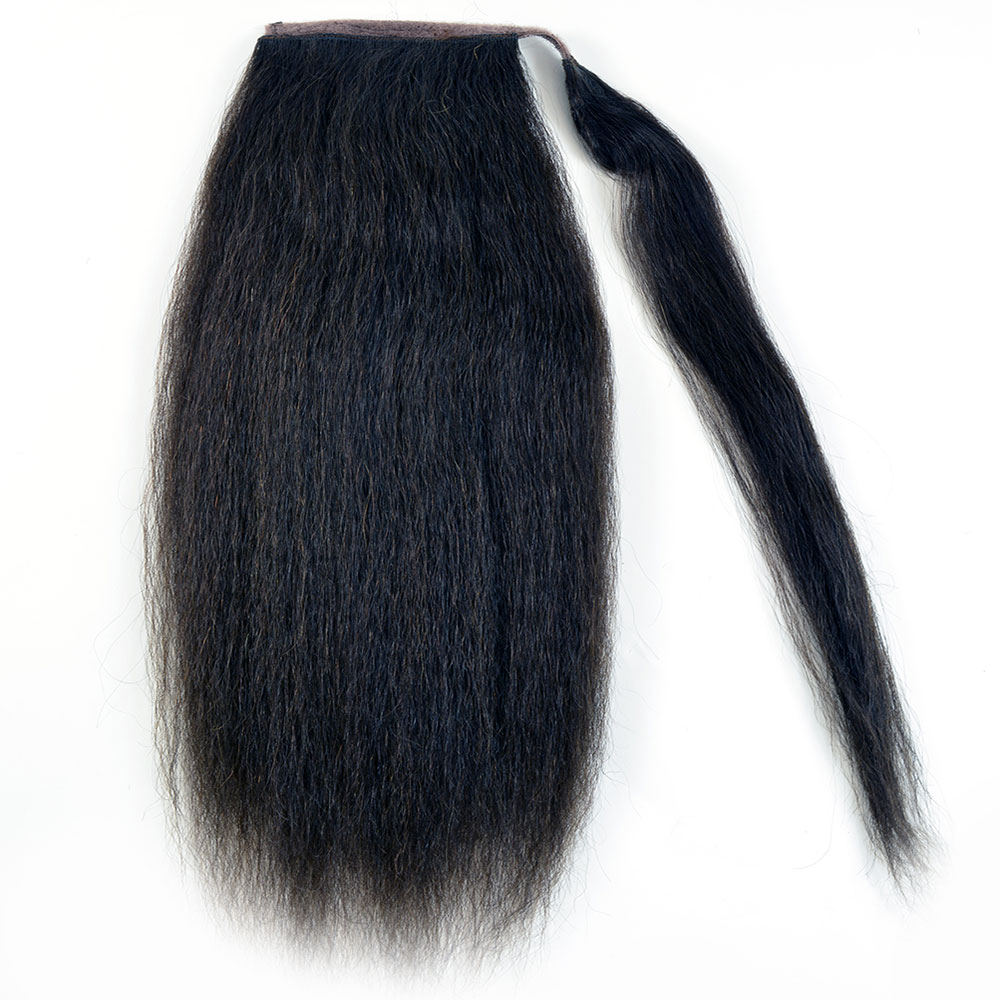 "Human Hair Velcro Ponytail - Kinky Straight 16"""