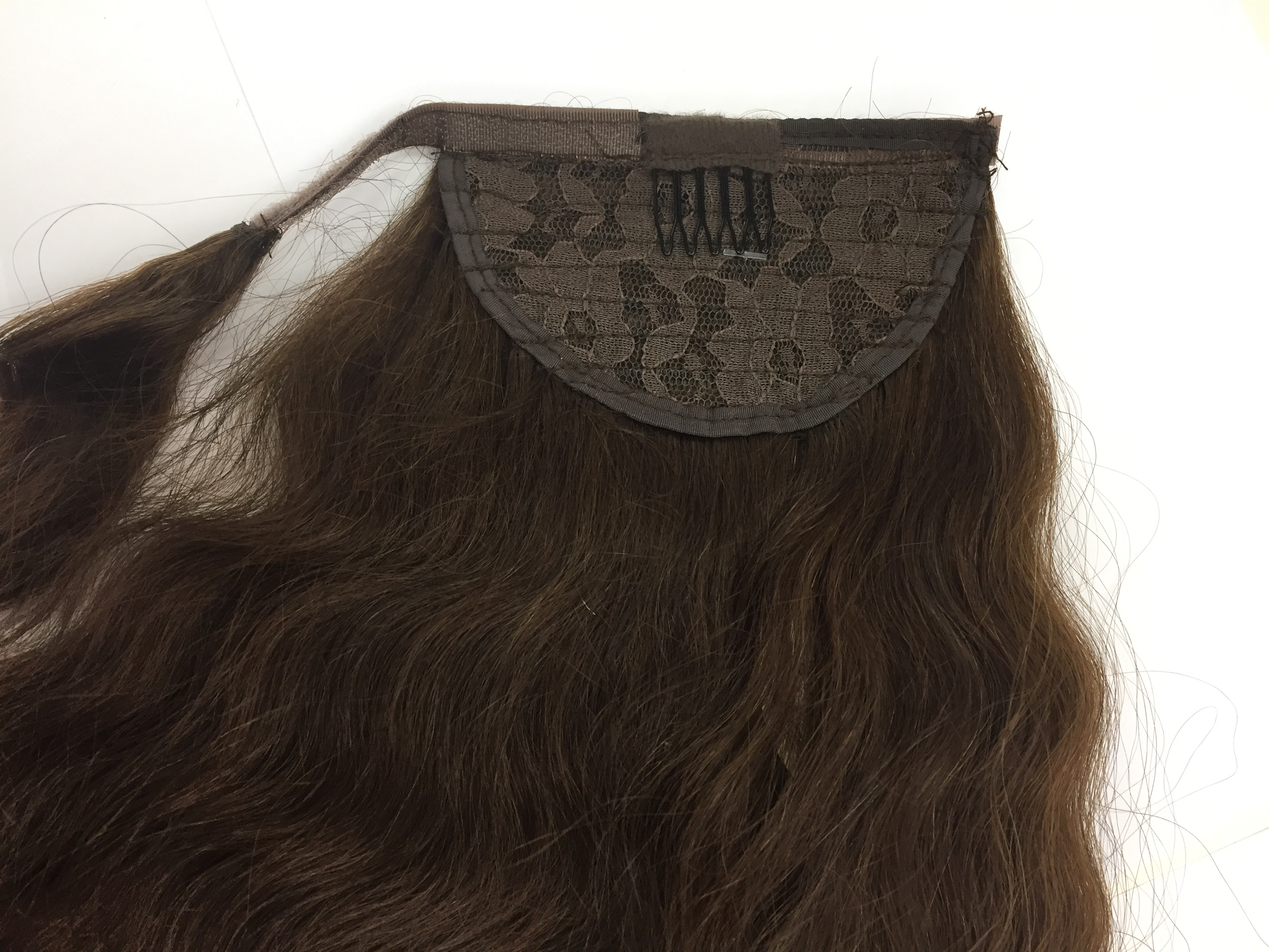 "Human Hair Velcro Ponytail - European Wave-Thick-18"""